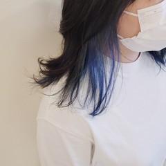 モード ブリーチオンカラー ブルー セミロング ヘアスタイルや髪型の写真・画像