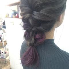 グラデーションカラー パープル ピンク ストリート ヘアスタイルや髪型の写真・画像