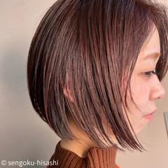 極細ハイライト ハイライト ガーリー ミニボブ ヘアスタイルや髪型の写真・画像