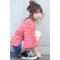 お団子 ルーズ 夏 ミディアム ヘアスタイルや髪型の写真・画像