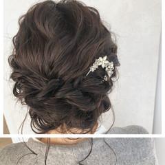 ヘアアレンジ セミロング 結婚式ヘアアレンジ フェミニン ヘアスタイルや髪型の写真・画像