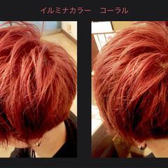 ショート メンズ 赤茶 ストリート ヘアスタイルや髪型の写真・画像