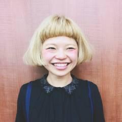 ストリート ボブ ショートバング 丸顔 ヘアスタイルや髪型の写真・画像