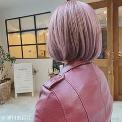 グラデーションカラー 夏 ハイライト ミニボブ ヘアスタイルや髪型の写真・画像