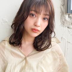 デジタルパーマ ミディアム モテ髮シルエット 外ハネ ヘアスタイルや髪型の写真・画像