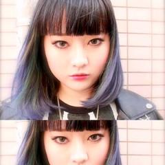 ストリート ミディアム 黒髪 外国人風 ヘアスタイルや髪型の写真・画像