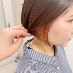 切りっぱなしボブ ショートボブ ミニボブ インナーカラー ヘアスタイルや髪型の写真・画像