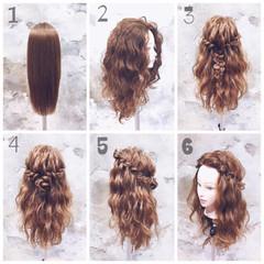ハーフアップ ロング ヘアアレンジ 編み込み ヘアスタイルや髪型の写真・画像
