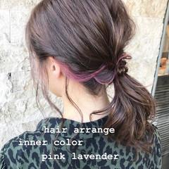 ベリーピンク ヘアアレンジ ガーリー ピンク ヘアスタイルや髪型の写真・画像
