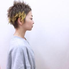オレンジ ウルフカット ショート ストリート ヘアスタイルや髪型の写真・画像