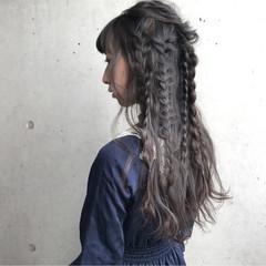 三つ編み ガーリー 編み込み ニュアンス ヘアスタイルや髪型の写真・画像