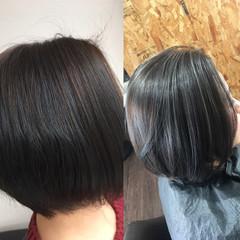 ハイライト ボブ ホワイトハイライト ガーリー ヘアスタイルや髪型の写真・画像