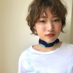 ガーリー ハンサムショート パーマ ヘアアレンジ ヘアスタイルや髪型の写真・画像