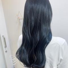 ロングヘア ロング ネイビーブルー 大人ハイライト ヘアスタイルや髪型の写真・画像