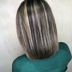 ハイライト グレージュ 外国人風カラー ホワイト ヘアスタイルや髪型の写真・画像