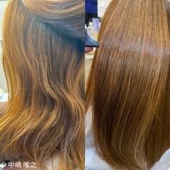 ハイトーン ハイライト セミロング ストレート ヘアスタイルや髪型の写真・画像
