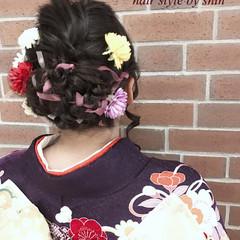 成人式 アップスタイル 編み込み ヘアアレンジ ヘアスタイルや髪型の写真・画像