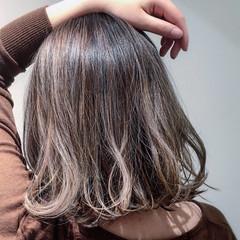 アッシュ ボブ ストリート ハイライト ヘアスタイルや髪型の写真・画像