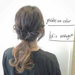 大人かわいい ショート 簡単ヘアアレンジ グラデーションカラー ヘアスタイルや髪型の写真・画像