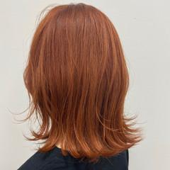 ナチュラル オレンジベージュ 外ハネボブ オレンジ ヘアスタイルや髪型の写真・画像