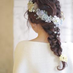 暗髪 ヘアアレンジ ロング フェミニン ヘアスタイルや髪型の写真・画像