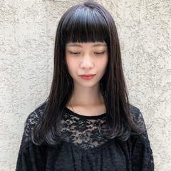 シースルーバング 黒髪 モード ロング ヘアスタイルや髪型の写真・画像