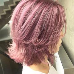 ピンクアッシュ ピンク ラベンダーピンク ベリーピンク ヘアスタイルや髪型の写真・画像