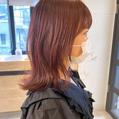 ナチュラル レッド チェリーレッド ミディアム ヘアスタイルや髪型の写真・画像
