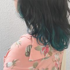 カラーバター ハイトーンカラー ストリート インナーカラー ヘアスタイルや髪型の写真・画像