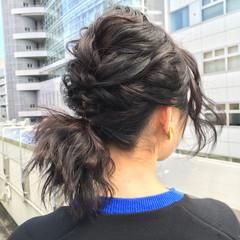 フェミニン ゆるふわ 黒髪 前髪あり ヘアスタイルや髪型の写真・画像