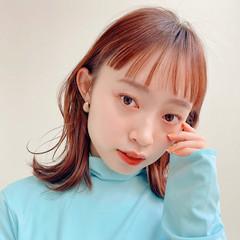 ミディアム ナチュラル 前髪あり 韓国ヘア ヘアスタイルや髪型の写真・画像