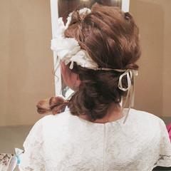 波ウェーブ 結婚式 ねじり 二次会 ヘアスタイルや髪型の写真・画像