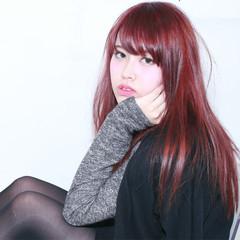 レイヤーカット セミロング 外国人風 ピンク ヘアスタイルや髪型の写真・画像