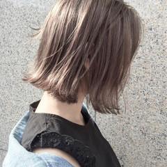 外国人風カラー ボブ ハイライト アッシュ ヘアスタイルや髪型の写真・画像