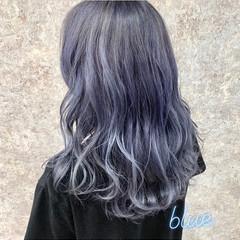 ダブルカラー フェミニン ブルー セミロング ヘアスタイルや髪型の写真・画像