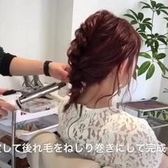 編み込み デート ミディアム まとめ髪 ヘアスタイルや髪型の写真・画像