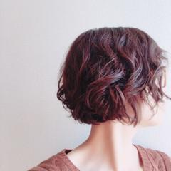 くせ毛風 ナチュラル ボブ ヘアアレンジ ヘアスタイルや髪型の写真・画像