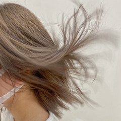 外ハネボブ ハイトーンカラー ハイトーン ナチュラル ヘアスタイルや髪型の写真・画像