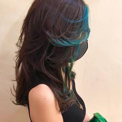 インナーカラー ハイトーンカラー ストリート ユニコーンカラー ヘアスタイルや髪型の写真・画像