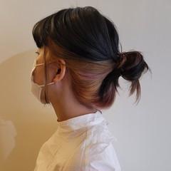私とマスクとヘアアレンジ モード ウルフカット セミロング ヘアスタイルや髪型の写真・画像
