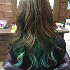 ロング ダブルカラー ガーリー かっこいい ヘアスタイルや髪型の写真・画像