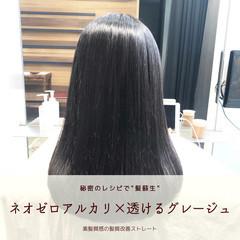 髪質改善 前髪 縮毛矯正 セミロング ヘアスタイルや髪型の写真・画像