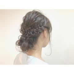セミロング 簡単ヘアアレンジ ブライダル 結婚式 ヘアスタイルや髪型の写真・画像