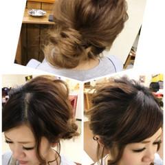 ミディアム ガーリー ヘアアレンジ 夏 ヘアスタイルや髪型の写真・画像