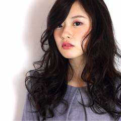 黒髪 モード ロング 抜け感 ヘアスタイルや髪型の写真・画像