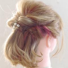 ボブ デート ガーリー ヘアアレンジ ヘアスタイルや髪型の写真・画像