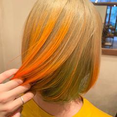 オレンジカラー ダブルカラー ハイトーンカラー ストリート ヘアスタイルや髪型の写真・画像
