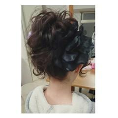 波ウェーブ ヘアアレンジ セミロング アップスタイル ヘアスタイルや髪型の写真・画像