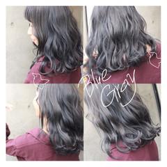 暗髪 セミロング アッシュ グレージュ ヘアスタイルや髪型の写真・画像
