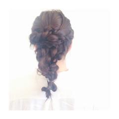 簡単ヘアアレンジ 暗髪 三つ編み ショート ヘアスタイルや髪型の写真・画像